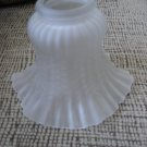 SATIN CHANDELIER/WALL LIGHT FIXTURE 2 1/8 GLASS LIGHT SHADE - BELL SHAPED - RUFFLED RIM!