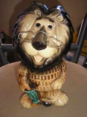 HUBERT THE LION PROMOTIONAL PIGGY BANK by LEFTON made EXCLUSIVELY for Harris Bank in Chicago!