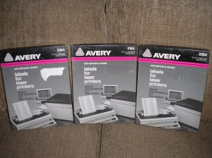 """AVERY 5164 WHITE SELF-ADHESIVE LASER LABELS - 3 1/3 x 4"""" by Avery - 600 LABELS - NEW OLD STOCK!"""