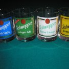 SCHWEPPES HIGHBALL GLASSES - SET OF 4 - GINGER ALE/BITTER LEMON/CLUB SODA/TONIC WATER - RARE!