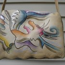 SAM SAM HAND PAINTED LEATHER PURSE - ABSTRACT BIRD DESIGN - 1980's - EXCELLENT!