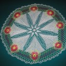 "VINTAGE HAND CROCHETED DOILY - 31"" IN DIAMETER - WHITE/LIME/FUSCHIA/YELLOW - STEP BACK IN TIME!"