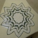 """VINTAGE HAND CROCHETED """"STAR"""" SHAPE DOILY - 24"""" - WHITE/GREEN - STEP BACK IN TIME!"""