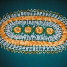 "VINTAGE HAND CROCHETED DOILY-20""x12"" OBLONG SHAPE - WHITE/YELLOW/GREEN- EXTRAORDINARY ""3D"" DESIGN!"