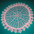 """VINTAGE HAND CROCHETED DOILY-18"""" ROUND - PINK/MULTI VARIEGATED- EXTRAORDINARY """"3D"""" DESIGN!"""