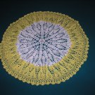 "VINTAGE HAND CROCHETED DOILY - 22"" - WHITE/YELLOW - STEP BACK IN TIME!"