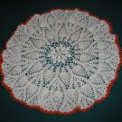 "VINTAGE HAND CROCHETED DOILY - 18"" - WHITE/ORANGE - STEP BACK IN TIME!"