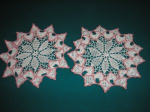 """VINTAGE HAND CROCHETED DOILY - 12"""" ROUND - SET OF 2 - WHITE/PINK - EXTRAORDINARY """"3D"""" DESIGN!"""