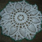 "VINTAGE HAND CROCHETED DOILY - 14"" - WHITE/GREEN - STEP BACK IN TIME!"
