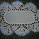 "VINTAGE HAND CROCHETED DOILY - 13"" x 10"" - WHITE/BLUE METALLIC - CLOTH CENTER - STEP BACK IN TIME!"