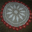 "VINTAGE HAND CROCHETED DOILY - 14"" - WHITE/RED FLOWERS with YELLOW CENTERS - STEP BACK IN TIME!"