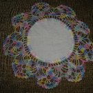 "VINTAGE HAND CROCHETED DOILY - 8"" - WHITE/VARIEGATED MULTI with CLOTH CENTER - STEP BACK IN TIME!"