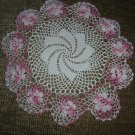 """VINTAGE HAND CROCHETED DOILY - 13"""" - WHITE/VARIEGATED PINK - 3D FLORAL BORDER - STEP BACK IN TIME!"""