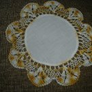 """VINTAGE HAND CROCHETED DOILY -10.5"""" -WHITE/VARIEGATED YELLOW with CLOTH CENTER -STEP BACK IN TIME!"""