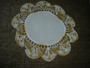 """VINTAGE HAND CROCHETED DOILY - 11"""" - WHITE/VARIEGATED YELLOW with CLOTH CENTER -STEP BACK IN TIME!"""