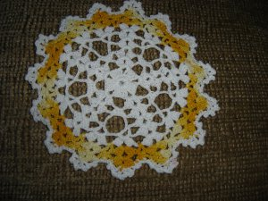"""VINTAGE HAND CROCHETED DOILY - 8"""" - WHITE/VARIEGATED YELLOW -STEP BACK IN TIME!"""