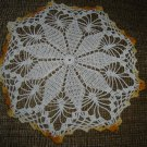 "VINTAGE HAND CROCHETED DOILY - 10"" - WHITE/VARIEGATED YELLOW -STEP BACK IN TIME!"