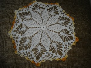 """VINTAGE HAND CROCHETED DOILY - 10"""" - WHITE/VARIEGATED YELLOW -STEP BACK IN TIME!"""