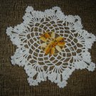 """VINTAGE HAND CROCHETED DOILY - 9"""" - WHITE/VARIEGATED YELLOW """"SNOWFLAKE"""" - STEP BACK IN TIME!"""