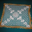 "VINTAGE HAND CROCHETED DOILY - 14"" - WHITE/VARIEGATED YELLOW -STEP BACK IN TIME!"