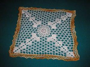 """VINTAGE HAND CROCHETED DOILY - 14"""" - WHITE/VARIEGATED YELLOW -STEP BACK IN TIME!"""