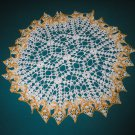 "VINTAGE HAND CROCHETED DOILY-21"" ROUND - WHITE/YELLOW VARIEGATED - EXTRAORDINARY ""3D"" DESIGN!"