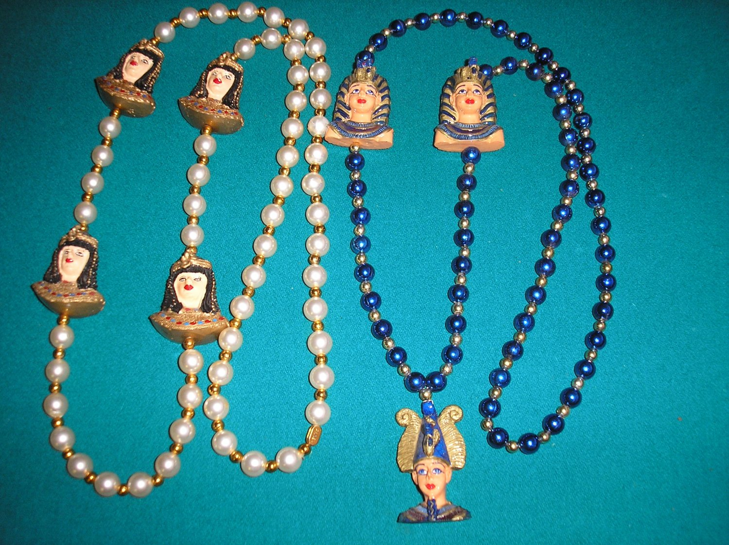 EGYPTIAN PARTY NECKLACE -SET OF 2 -OSIRIS & KING TUT and CLEOPATRA -PERFECT FOR HALLOWEEN COSTUME!