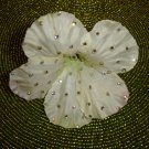 "TARINA TARANTINO ""Classic"" White/Pale Green Silk Flower Pin with Crystals!"