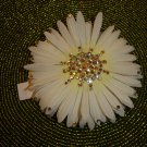 "TARINA TARANTINO ""CARA"" White Daisy Silk Flower Barrette with Crystals - NEW WITH TAG!"