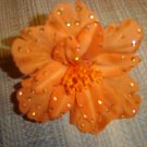 "TARINA TARANTINO ""Classic"" Orange Silk Flower Anywhere Clip with Crystals!"