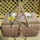 VINTAGE WOVEN WICKER SEWING BASKET BOX with CROCHETED FLOWERS & SATIN LINING - HUGE!!