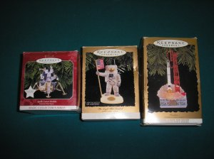 "HALLMARK KEEPSAKE ""NASA"" JOURNEYS INTO SPACE SERIES CHRISTMAS ORNAMENTS-LOT OF 3-IN ORIGINAL BOXES!"