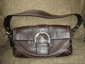 975c1ff5f8d2 ... coupon code for coach small brown leather baguette bag handbag purse  no. co66 8a05 authentic
