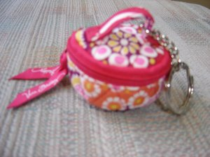 VERA BRADLEY ZIPPERED POUCH KEYCHAIN - RED PAISLEY PATTERN with RIBBON PULL - NWOT!