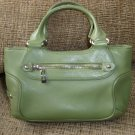 COLE HAAN PEA/OLIVE GREEN color LEATHER TOTE/HAND BAG/PURSE - AUTHENTIC!