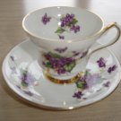 "VINTAGE WINDSOR BONE CHINA TEA CUP & SAUCER SET - PURPLE ""FORGET-ME-NOTS"" PATTERN - 1 of 2!"