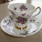 "VINTAGE WINDSOR BONE CHINA TEA CUP & SAUCER SET - PURPLE ""FORGET-ME-NOTS PATTERN - 2 of 2!"