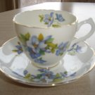 VINTAGE MARLBOROUGH BONE CHINA TEA CUP & SAUCER SET - DAINTY BLUE FLORAL PATTERN!