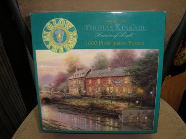"THOMAS KINKADE PAINTER OF LIGHT ""LAMPLIGHT INN"" GLOW IN THE DARK 1000 PIECE JIGSAW PUZZLE by CEACO!"