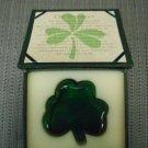 """""""AN IRISH BLESSING"""" GREEN GLASS SHAMROCK PAPERWEIGHT!"""
