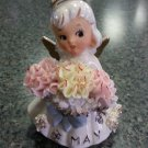 "Vintage Geo. Z Lefton ""May"" Carnation/Emerald Birthday Angel Figurine #489 with Original Sticker!"