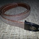Gucci Men's Brown Textured Leather Belt with Gun Metal tone GG Buckle- SIZE L/XL- VINTAGE-AUTHENTIC!