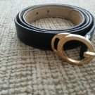 "Gucci Women's Navy Leather Belt - Gold Tone ""G"" Buckle - SIZE M/L - VINTAGE - AUTHENTIC #2!"