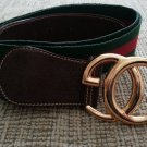Gucci Signature Stripe Web Belt-Leather Accents-Interlocking GG Buckle-SZ M/L-VINTAGE-AUTHENTIC!