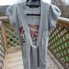 ED HARDY by CHRISTIAN AUDIGIER Slim Fit Short Sleeve Tie-Front Cardigan Sweater - Size M!