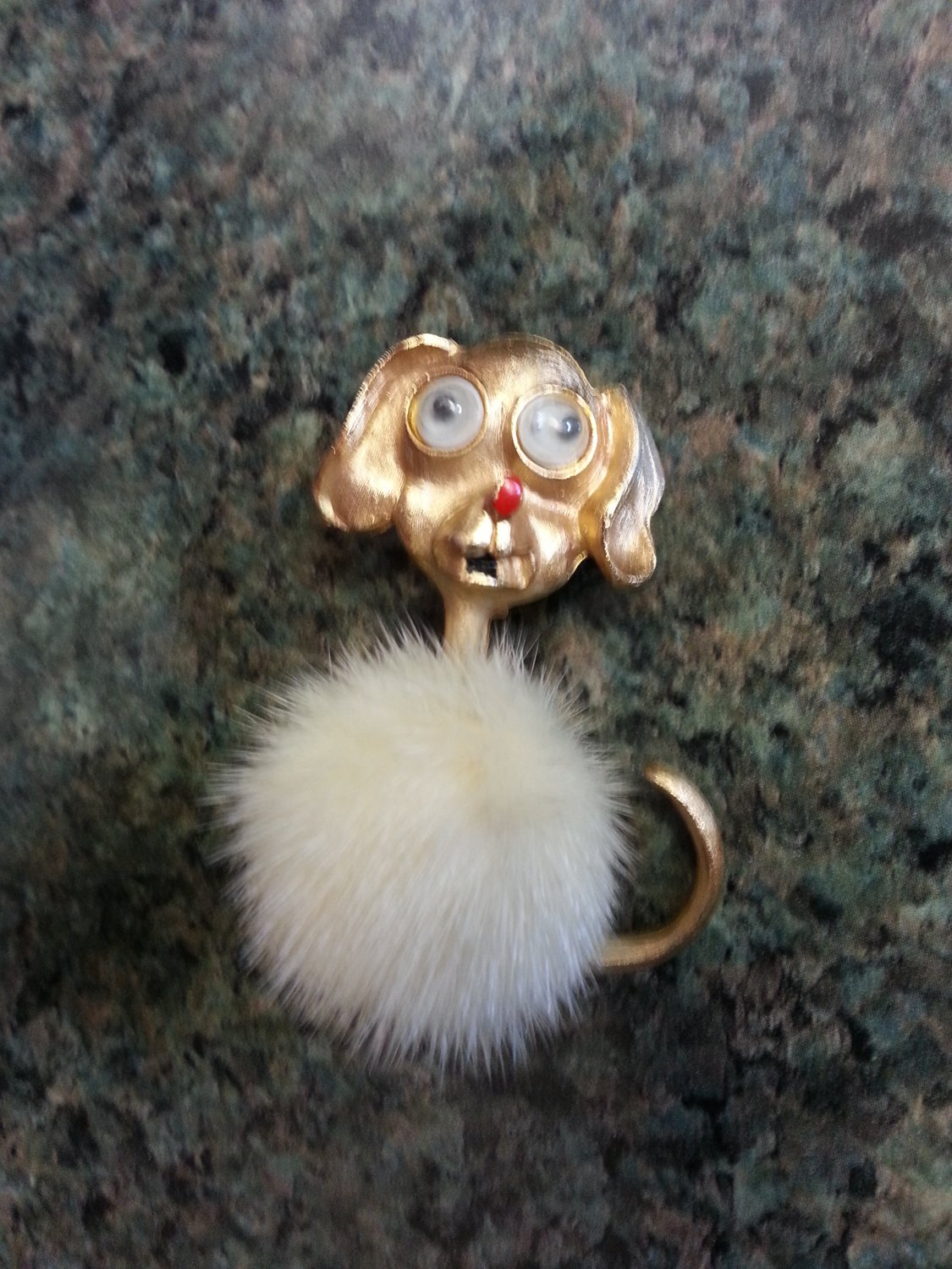 Vintage Mink Body Dog Pin Brooch with Googly Eyes signed by J.J.!