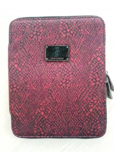 Juicy Couture �Red Snakeskin� print 2-Way Zip-Around CUSHY iPad Case with Plush interior!
