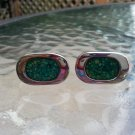 Vintage Green Mosiac Cufflinks by Celebrity in a Silver Clad Setting!