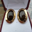Vintage Brownstone Cufflinks in a Gold Clad Setting!