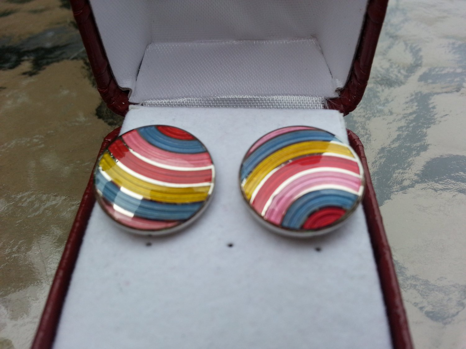Pink, Blue, Red & Yellow Stripe Circle Enamel Cufflinks Charles Tyrwhitt!